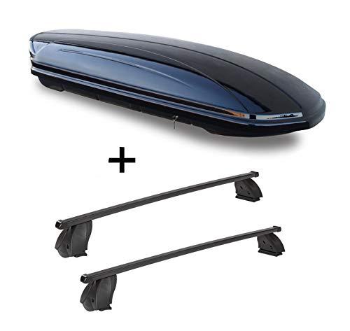 Dakkoffer VDPMAA580 580 liter afsluitbaar zwart + dakdrager K1 MEDIUM compatibel met Mercedes C Coupé (C205) (3-deurs) vanaf 15