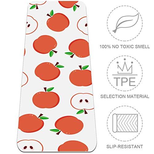 Esterilla de yoga antideslizante con correa de transporte y bolsa para ejercicios de pilates (72 x 24 x 6 mm), diseño abstracto de manzanas, color multicolor, tamaño 24x72 in-61x183 cm