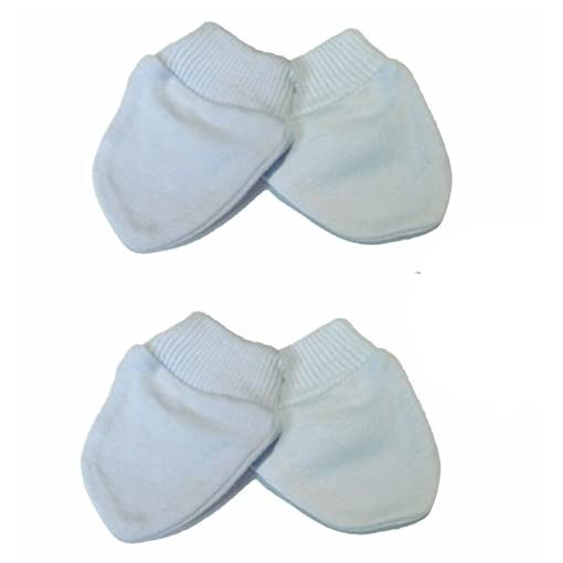 Newborn-2-Pairs-of-Scratch-MittsMittens-100-Cotton-Baby-Blue