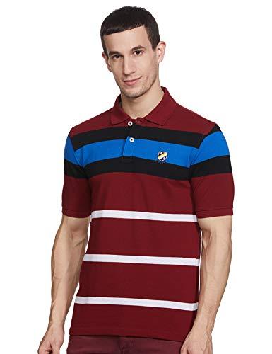 Amazon Brand - House & Shields Men's Striped Regular fit Polo (HSK 78_Maroon & Blue S)