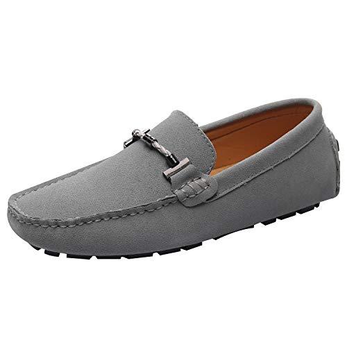 Jamron Uomo Elegante Fibbia Mocassini Comfort Scamosciato Scarpe di Guida Moda Pantofole Grigio SN19020 EU41.5