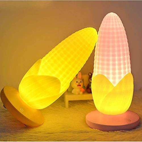 LMCXWD nachtlampje maïs-nachtlampje, 3 modi, dimbaar, USB, oplaadbaar, lamp met touch-sensor, nachtlampje, creatief opladen