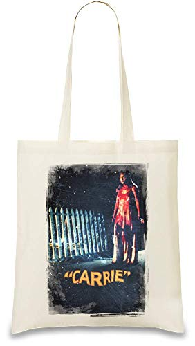 Carrie Filmplakat - Carrie Movie Poster Custom Printed Tote Bag| 100% Soft Cotton| Natural Color & Eco-Friendly| Unique, Re-Usable & Stylish Handbag For Every Day Use| Custom Shoulder Bags By Design