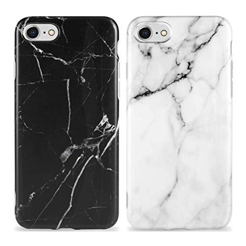 KARELIFE 2X Coque Marbre pour iPhone Se 2020, iPhone 8 iPhone 7 Coque Silicone Mat, Anti-Rayures Housse et Souple TPU Bordure Cover Ultra Mince Durable Case - Noir, blanc cassé