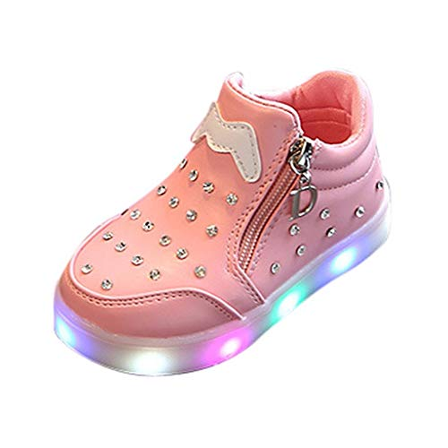 Toddler Baby Girls Casual Crystal Zipper LED Light Luminous Short Boots Booties Shoes (15Months-6Years)
