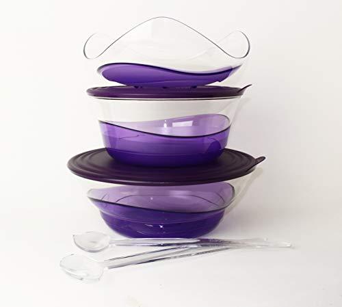 TUPPERWARE Eleganzia Schüssel 2,3L + 3,2L + Servierschale/Obstschale + Salatbesteck VIOLETT-LILA/TRANSPARENT Schale BLICKFANG + 1,3L Lachs Ergonomica