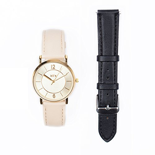 Bill's Watches dameshorloge leer luxe trend leer set armband aquamarijn Tan armband Tan Black