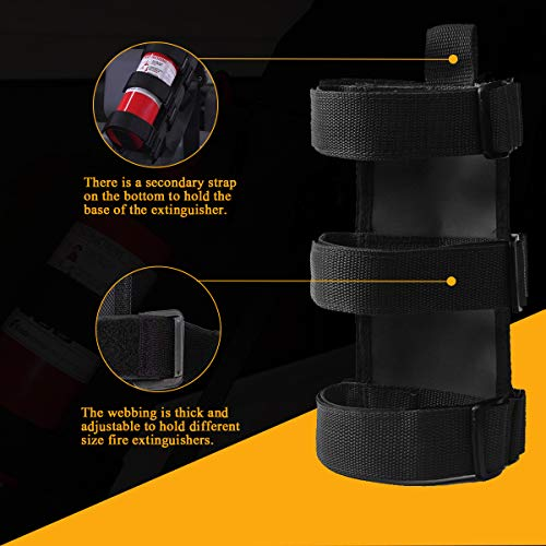 Fire Extinguisher Holder Adjustable Roll Bar, Moveland Fire Extinguisher Mount Strap for TJ YJ JK