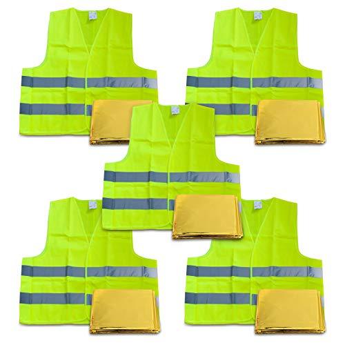 Filmer KFZ Warnweste Auto 5er Set, Gelb nach DIN EN ISO 20741 Erste-Hilfe-Set inklusive Rettungsdecke. Reflektierende Sicherheitsweste/Pannenweste