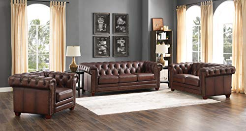 Hydeline Stanwood 100% Leather Chesterfield Sofa, Loveseat, Chair, Dark Brown