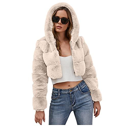 Abrigo corto con capucha de piel sintética para mujer, chaqueta de punto con cremallera, blanco, XL