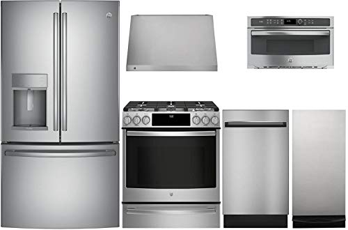 GE Profile 6 Pcs Kitchen Package with PFE28KSKSS 36'Fridge,...