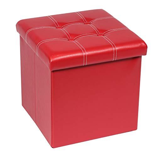 Bonlife Spielzeugbox mit Deckel Sitzbox mit Stauraum Faltbare Truhe Aufbewahrung Polster Couch Hocker Sitzbank mit Schuhregal Rot 38 x 38 x 38 cm