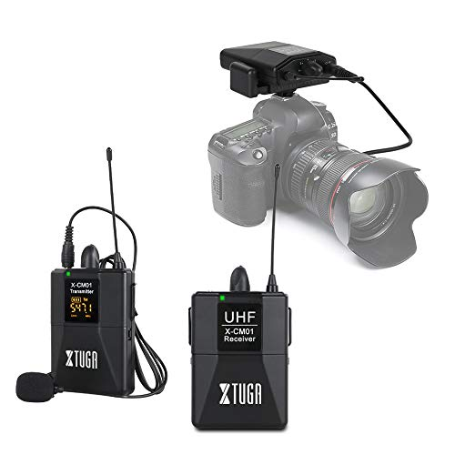 XTUGA X-CM01 UHF Wireless Lavalier Microphone, UHF Lapel Mic System with 16 Selectable Channels Come with Two 3.5mm Cables up to 164FT Range for DSLR Camera/DV/Camcorders/Audio Recorder