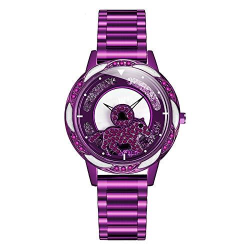 El Tiempo Corre Reloj Tendencia De La Moda Femenina Simple Red Rojo Mismo Estilo Estudiante Correa De Acero Reloj Femenino púrpura