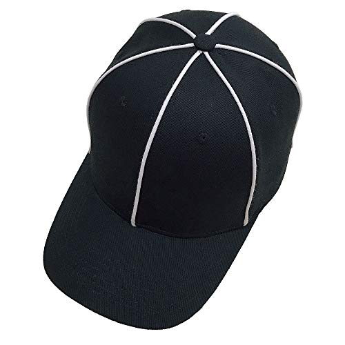 TOPTIE Sporting Goods Official Referee Hat Black with White Stripe, Adjustable Black Ball Cap-Black White Striped
