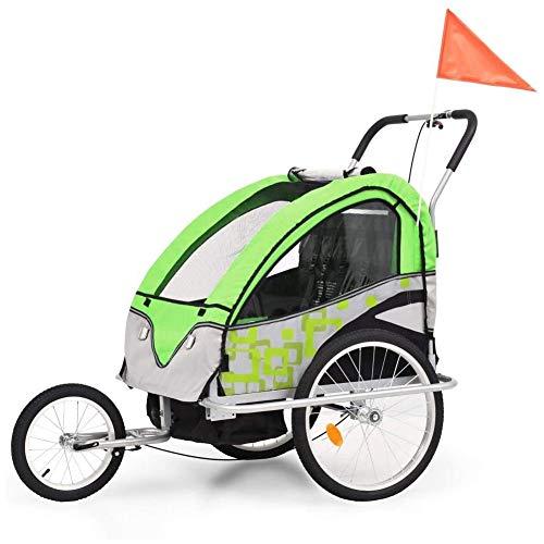 2In1 Kinderanhänger Kinderfahrradanhänger,Kinderfahrradanhänger & Kinderwagen Grüner Und Grauer Fahrradjogger