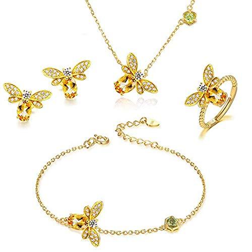 Zhenwo Schmuck-Set Mit Bienenen-Anhänger, Halskette, Armband, Ring Und Ohrringe, Kristall, Strass, 4 Packungen,Set