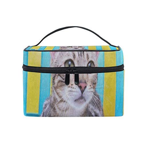 Sunshine Cat Sunflower Floral Cosmetic Bag Portable Grand Trousse de Toilette pour Femmes/Filles Travel Makeup Bag