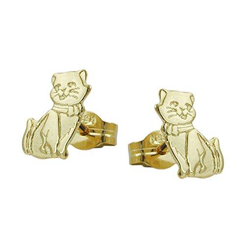 Goldohrringe Schmuck Ohrschmuck Ohrringe Ohrstecker Katzen Damen aus 333 8 kt Gelbgold 8 kt teilmattiert 8 x 5 mm mit Steckverschluss Stecker inklusive Schmuckbox