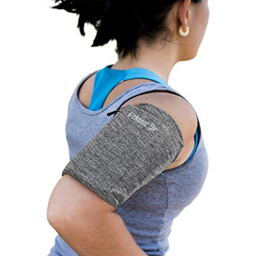 Phone Armband Sleeve: Best Running Sports Arm Band Strap Holder Pouch Case for Exercise Workout Compatible with iPhone 5S SE 6 6S 7 8 X Plus iPod Android Samsung Galaxy S5 S6 S7 S17 Gray Medium