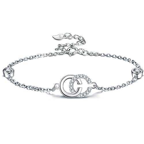 Lydreewam 925 Sterling Silver Initial Bracelet for Women Letter Double C Charm Bracelet with 3A Cubic Zirconia, Adjustable 19cm
