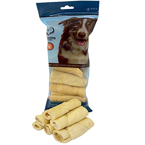 6 Inch Beef Cheek Rolls - No Hide - Safe Non Rawhide Alternative Dog Chew - No Rawhide Bone Roll...
