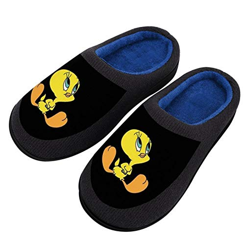 Tweety-Bird Women's Knitted Cotton Slippers - Comfort Washable Flat Closed Toe Winter House Slippers with Non-Slip Sole