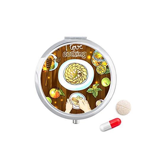DIYthinker Ik hou van koken Beaten Eieren Honing Travel Pocket Pill Case Medicine Drug Opbergdoos Dispenser Spiegel Gift
