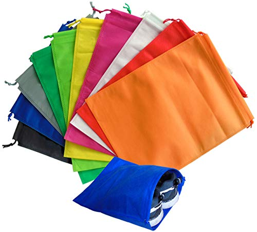 Lontenrea 10個巾着袋不織布防塵収納袋 スポーツジム アウトドア 出張家庭収納靴袋