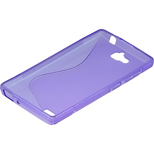 PhoneNatic Case kompatibel mit Huawei Honor 3C - lila Silikon Hülle S-Style + 2 Schutzfolien - 4
