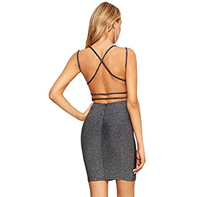 MAKEMECHIC WOMEN'S SEXY STRAPPY V-NECK BACKLESS BODYCON COCKTAIL PARTY DRESS