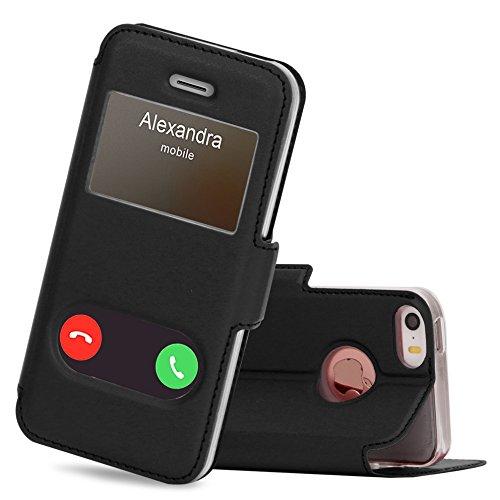 """FYY Coque iPhone Se, Coque iPhone 5S, Coque iPhone 5, Housse Magnetique Smart View avec Fenêtre d'Ouverture pour Apple iPhone Se 2016/5S/5 4.0"""" Noir"""
