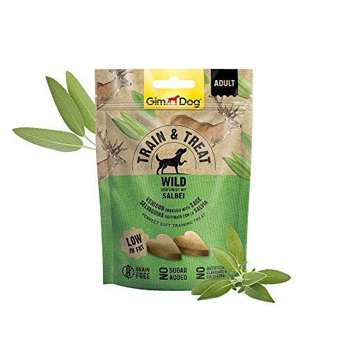 GimDog TRAIN & TREAT Adult - Wild mit Salbei - Getreidefreie Leckerlis mit geringem Fettgehalt als idealer Trainings-Snack - 1 Beutel (1 x 125 g)
