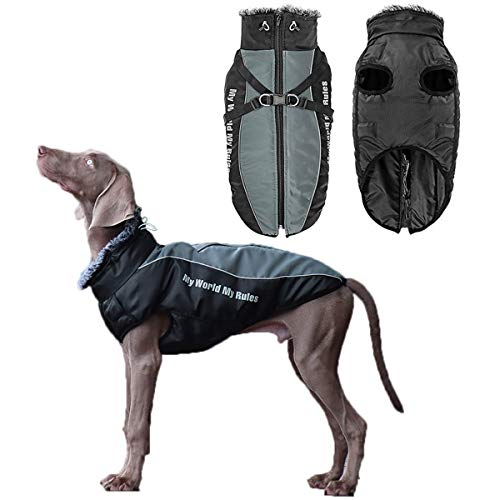 Vehomy Dog Winter Coat Waterproof Windproof Dog Jacket with Harness & Furry Collar Warm Dog Clothes Outdoor Dog Vest with Reflective Strips Cold Weather Dog Apparel for Medium Large Dogs 5XL