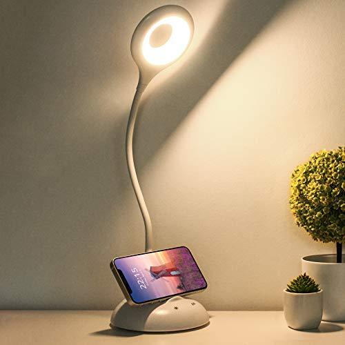 Semlos LED Schreibtischlampe Touch-Steuerung, Wiederaufladbare Tischlampen, Leselampe mit USB-Ladeanschluss, Tischleuchte 5 Farbmodi 5 Helligkeitsstufen, Telefonhalter