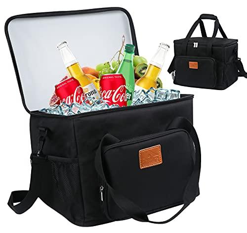 Anstore 24L Kühltasche Picknicktasche Lunchtasche Mittagessen Tasche Thermotasche Kühltasche Faltbare Isoliertasche Kühlkorb Kühlbox für Lebensmitteltransport, Schwarz