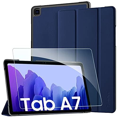EasyAcc Custodia Cover + Pellicola Protettiva Compatibile con Samsung Galaxy Tab A7 10.4 2020, Ultra Sottile Smart Cover in Pelle Vetro Temperato Protezioni Pellicola per SM-T500 T505 Tablet, Blu