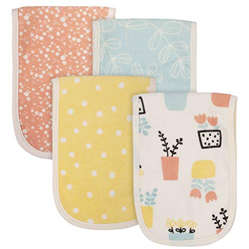 Grow by Gerber Baby Girls Organic 4-Pack Terry Burp Cloths, Orange/Yellow/Green/Ivory, One Size