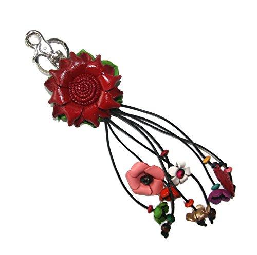 Bella Pazzo Red Handmade Lotus Flower Leather Keychain Key Ring Clasp Bag Charm Handbag Purse charm Car Key Pendant