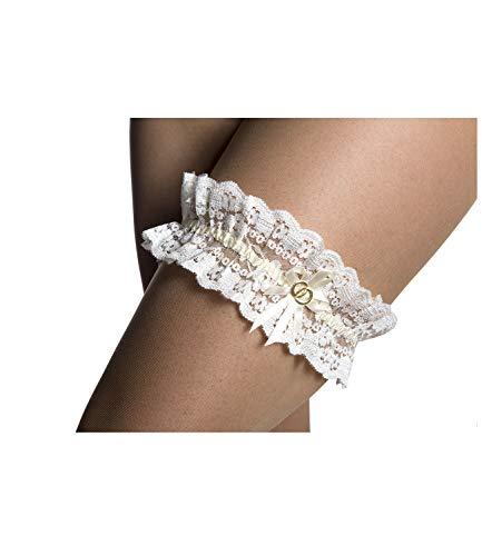 Princess Taufkleid Strumpfband M 7 in Creme aus Spitze und Satin mit passendem Seidenband One Size