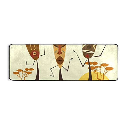 FANTAZIO Afrikanische Masken Flur Küche Läufer Teppich Bereich Teppich 183 x 61 cm