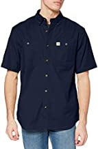 Carhartt mens Rugged Flex Rigby Short Sleeve Work Utility Button Down Shirt, Navy, XX-Large US