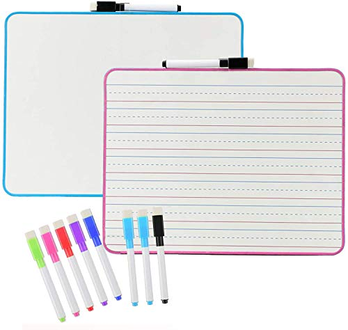 Dry Erase Board for Students, Small White Board with 10 Markers and 10 Pieces Color Mixed Erasable Pens, 2 Pack Double Sided Lapboard (9 X 12 Inch)