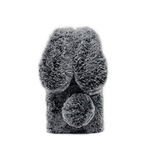 Omio for Samsung Galaxy Note 10 Rabbit Fur Case Soft Handmade Fluffy Furry Cute Bunny Stylish Plush Rabbit Case Cover Warm Big Ear Bling Crystal Rhinestone Bowknot Ultra Light Case for Galaxy Note 10
