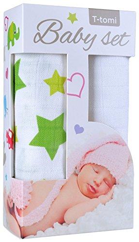 T-TOMI Badetuch, 2 Stück, aus Bambus, grüne Sterne/Weiß, Mehrfarbig, Einheitsgröße
