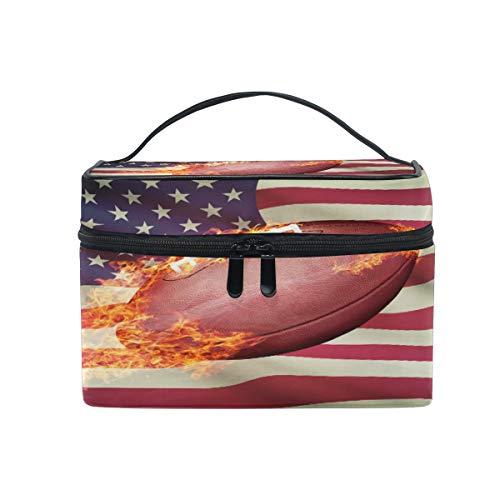 Lustige große Make-up-Tasche, Organizer, USA-Flagge, Rugby-Sport, Kosmetiktasche, Kulturbeutel, tragbare Reisetasche, für Damen und Mädchen, Lady Kinder