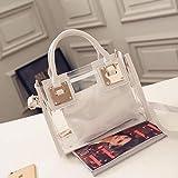 Romantic-Z Europe Fashion - Bolso de mano de PVC transparente para mujer, color blanco