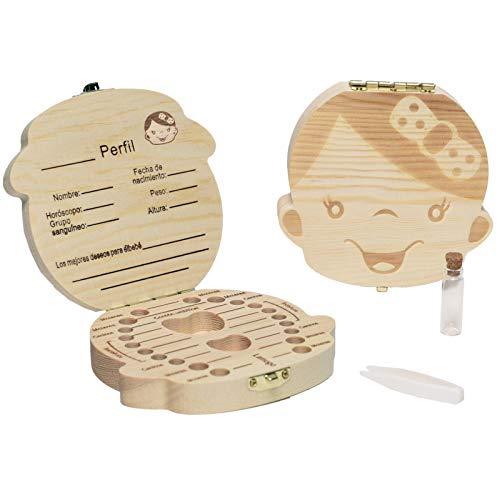 LA PUERTA MÁGICA Caja dientes de leche + pinzas + botella esterilizadora - Cajita dientes de leche de madera y personalizable en Español. Caja para dientes de bebé 12 x 3 cm (Niña)