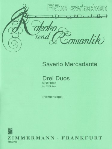 3 Duos F-Dur, e-Moll, C-Dur: 2 Flöten. Partitur und Stimmen. (Flöte zwischen Rokoko und Romantik)